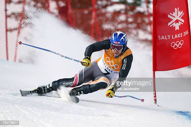 Kjetil Andre Aamodt of Norway competes in the Men's Combined Downhill at the Snowbasin Ski Area during the Salt Lake City Winter Olympic Games in...