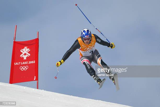 Kjetil Andre Aamodt of Norway in action in the Men's Combined Downhill at the Snowbasin Ski Area during the Salt Lake City Winter Olympic Games in...