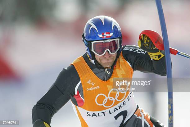 Kjetil Andre Aamodt of Norway in the slalom event of the men's combined during the Salt Lake City Winter Olympic Games at the Snowbasin ski area in...