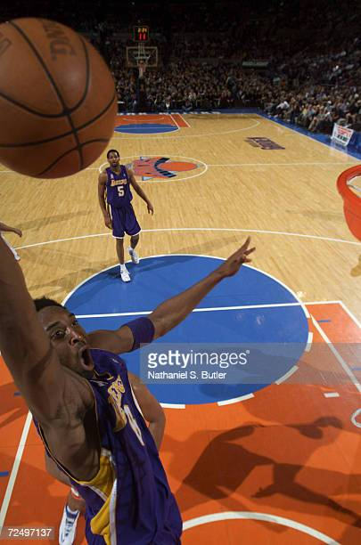 Kobe Bryant of the Los Angeles Lakers dunks against the New York Knicks at Madison Square Garden in New York New York DIGITAL IMAGE NOTE TO USER User...