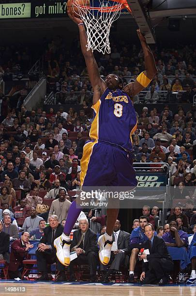 Kobe Bryant of the Los Angeles Lakers shoots during the 2002 NBA All-Star game at the First Union Center during the 2002 NBA All-Star Weekend in...