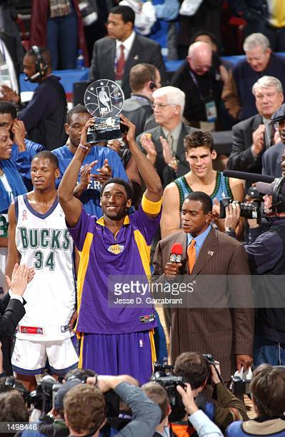 Kobe Bryant of the Los Angeles Lakers takes home the MVP of the 2002 AllStar game at the First Union Center Philadelphia Pennsylvania DIGITAL IMAGE...