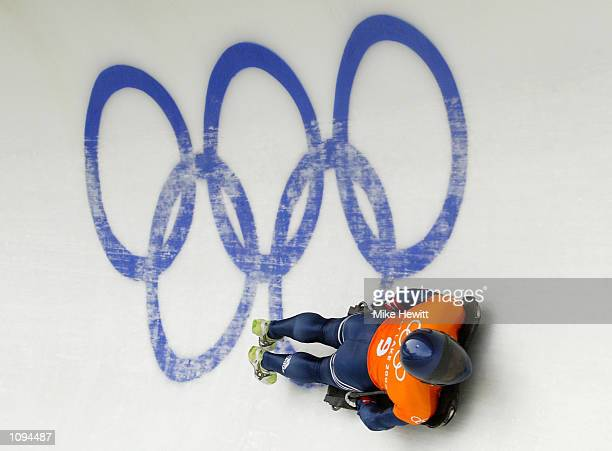 Kristan Bromley of Great Britain practices in the men's skeleton during the Salt Lake City Winter Olympic Games at the Utah Olympic Park in Park...