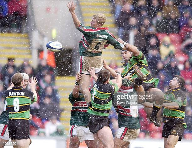 Lewis Moody the Leicester flank forward in line out action with Andrew Blowers of Northampton during the Zurich Premiership match between Leicester...