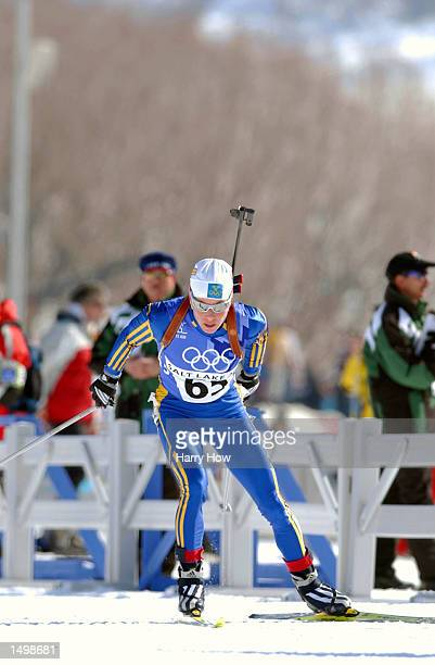 Magdalena Forsberg of Sweden competes in the women's 15km biathlon during the Salt Lake City Winter Olympic Games at Soldier's Hollow in Heber City...