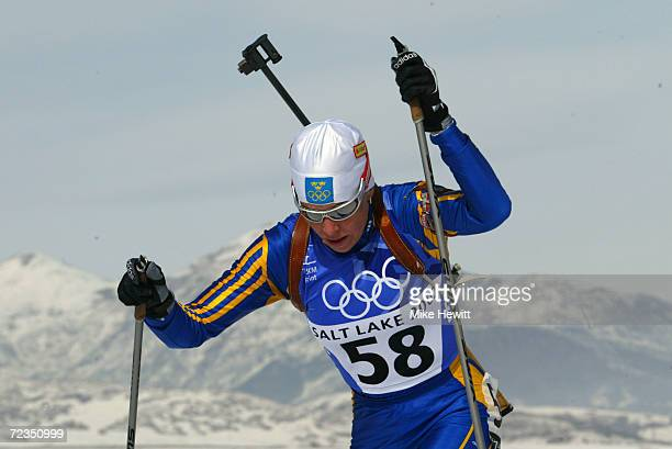 Magdalena Forsberg of Sweden competes in the women's 75km biathlon sprint during the Salt Lake City Winter Olympic Games at Soldier's Hollow in Heber...