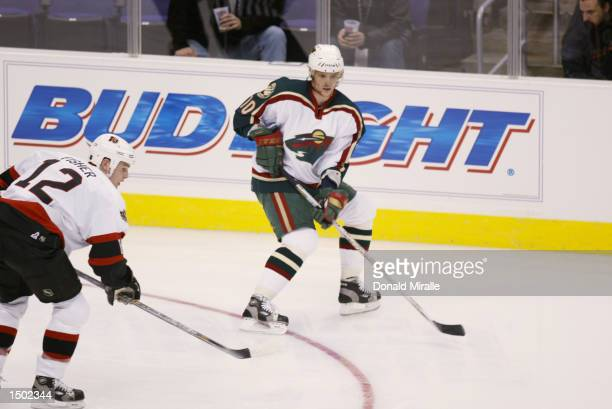 Marian Gaborik of the Minnesota Wild skates during the NHL YoungStars Game at the Staples Center in Los Angeles, California. Team Melrose defeated...