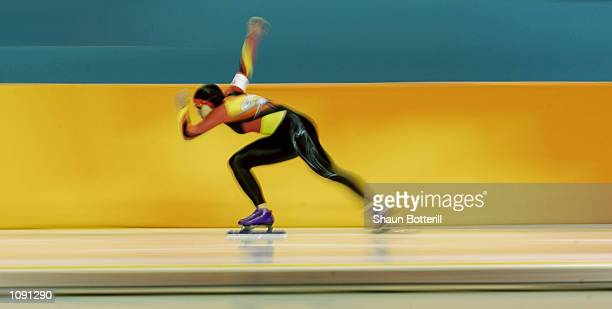 Marion Wohlrab of Germany competes in the women's 500m speed skating event during the Salt Lake City Winter Olympic Games at the Utah Olympic Oval in...