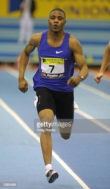 Mark LewisFrancis of Great Britain in action in the 60 metres heats during the Norwich Union Grand Prix Energizer Euro Seriesat the National Indoor...