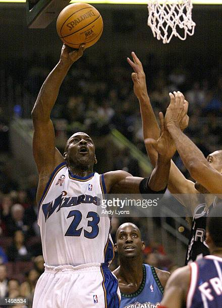 Michael Jordan of the Washington Wizards and the Eastern Conference team shoots the ball during the NBA AllStar game at the First Union Center in...