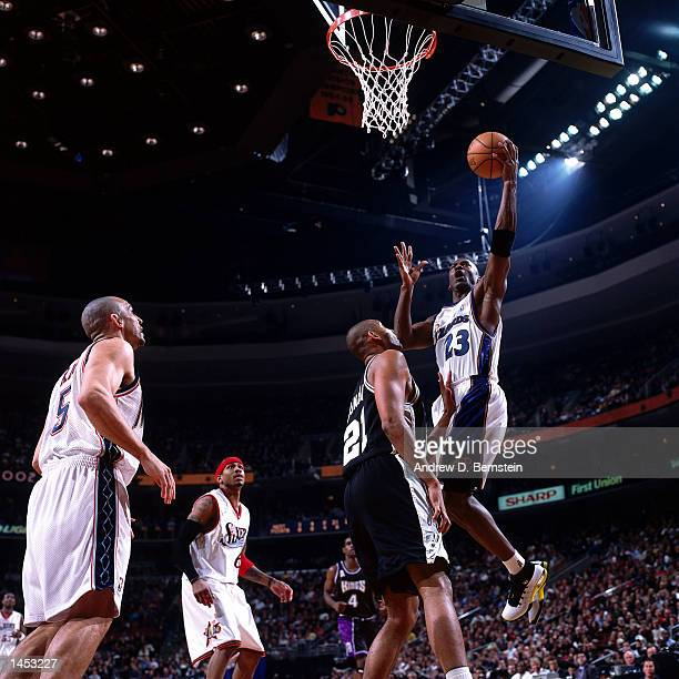 Michael Jordan of the Washington Wizards drives to the basket for a layup during the 2002 NBA All Star Game at the First Union Center in Philadelphia...