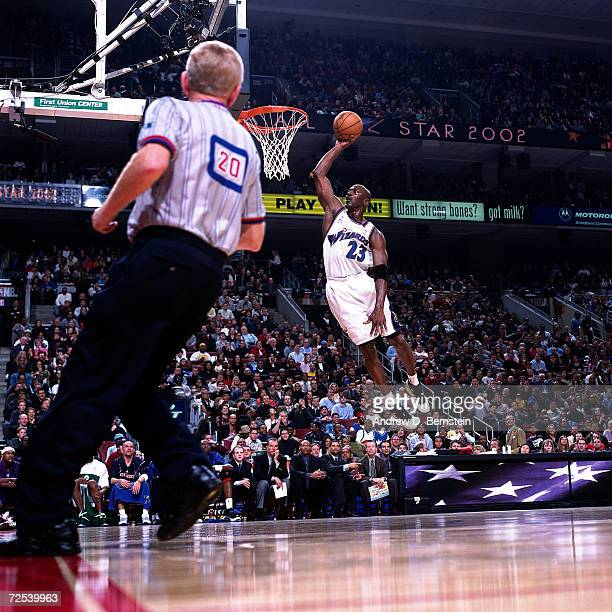 Michael Jordan of the Washington Wizards goes for a dunk during the 2002 NBA All Star Game at the First Union Center in Philadelphia Pennsylvania...