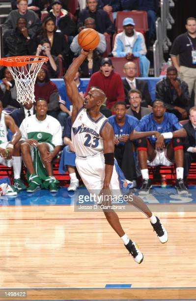 Michael Jordan of the Washington Wizards goes up for the dunk at the 2002 AllStar game at the First Union Center Philadelphia Pennsylvania DIGITAL...