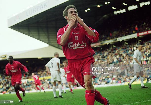 Michael Owen of Liverpool celebrates scoring the fourth and final goal of the match during the FA Barclaycard Premiership match against Leeds United...