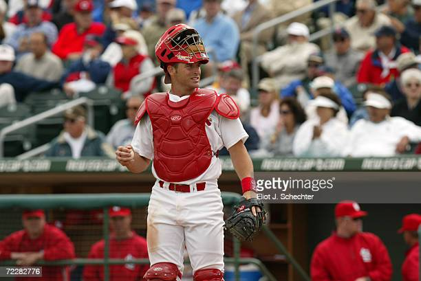 Mike Matheny of the StLouis Cardinals during the Spring Training game against the New York Mets at Roger Dean Stadium in Jupiter Florida The...