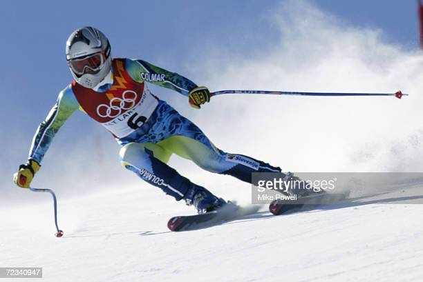 Mojca Suhadolc of Slovenia competes in the women's downhill final during the Salt Lake City Winter Olympic Games at the Snowbasin ski area in Ogden...