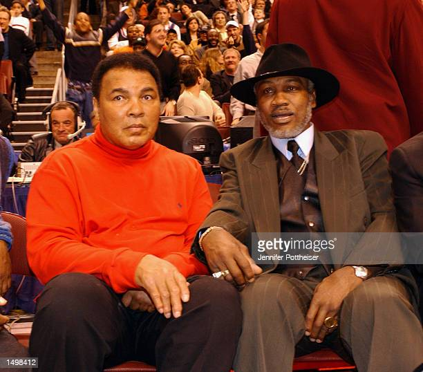 Muhammad Ali and Joe Frazier enjoy the the 2002 NBA AllStar game at the First Union Center during the 2002 NBA AllStar Weekend in Philadelphia...