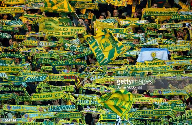 Nantes fans during the UEFA Champions League game between FC Nantes and Manchester United at the Stade de la Beaujoire Nantes France DIGITAL IMAGE...