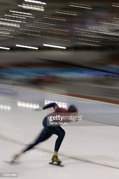 Nick Pearson of the USA competes in the men's 1500m speed skating event during the Salt Lake City Winter Olympic Games at the Utah Olympic Oval in...