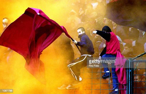 Osasuna fans watch the action during the Primera Liga match between Osasuna and Real zaragoza played at the El Sadar Stadium Pamplona DIGITAL IMAGE...