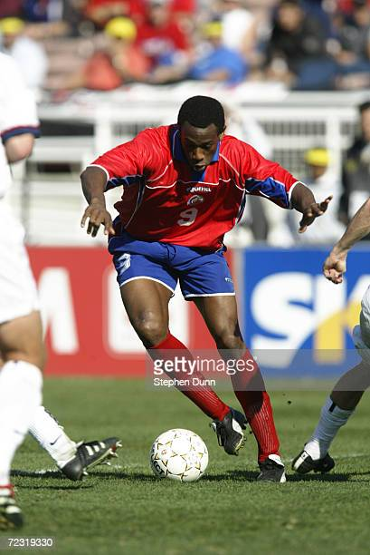 Paolo Cesar Wanchope of Costa Rica fights for the ball in their CONCACAF Gold Cup Championship match at the Rose Bowl in Pasadena California The USA...
