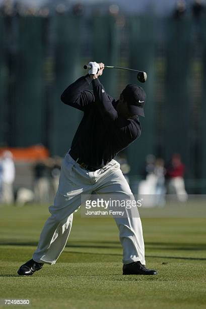Pat Perez reacts to a poor shot on the final hole during the last round of the ATT Pebble Beach ProAm in Pebble Beach California DIGITAL IMAGE...