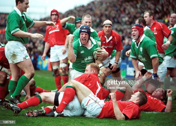 Paul O''Connell of Ireland celebrates his try during the Six Nations Championship match between Ireland and Wales at Lansdowne Road Dublin Ireland...