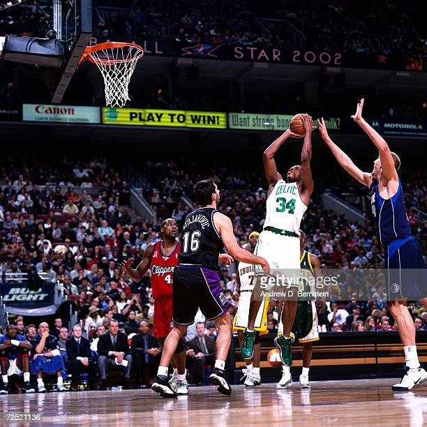 Paul Pierce of the Boston Celtics takes a jumpshot during the 2002 NBA All Star Game at the First Union Center in Philadelphia PennsylvaniaNOTE TO...