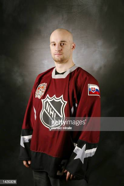 Pavol Demitra of the World Team poses for a portrait in his All Star jersey during NHL All Star week in Los Angeles California DIGITAL IMAGE...