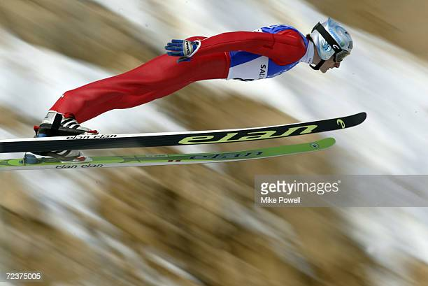 Peter Zonta of Slovenia competes in the Team K120 Ski Jumping event at the Utah Olympic Park in Park City during the Salt Lake City Winter Olympic...