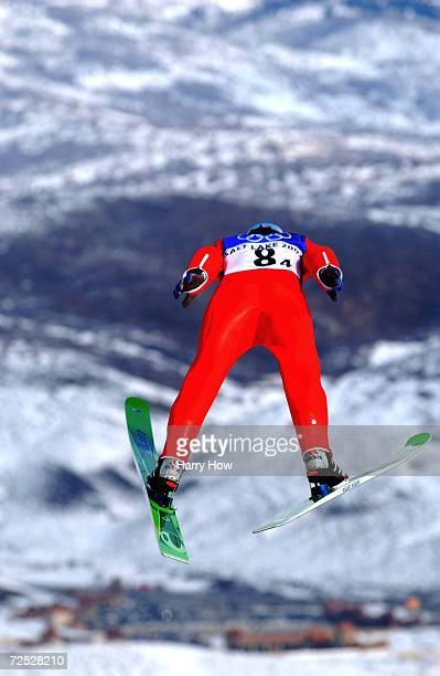 Peter Zonta of Slovenia takes his jump en route to a Bronze Medal in the Men's K120 Team Ski Jump during the Salt Lake City Winter Olympic Games at...