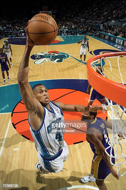 PJ Brown of the Charlotte Hornets puts in a basket during their game against the Los Angeles Lakers at Charlotte Colesium in Charlotte North Carolina...