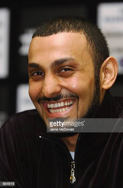 Portrait of Prince Naseem Hamed during a press conference at the Grosvenor House Hotel in London to promote his IBO featherweight title bout against...
