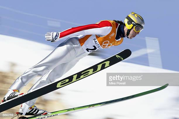 Primoz Peterka of Slovenia competes in the final of the Men's K120 Ski Jumping event at the Utah Olympic Park in Park City during the Salt Lake City...
