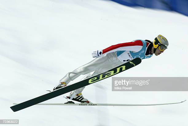 Primoz Peterka of Slovenia competes in the Team K120 Ski Jumping event at the Utah Olympic Park in Park City during the Salt Lake City Winter Olympic...