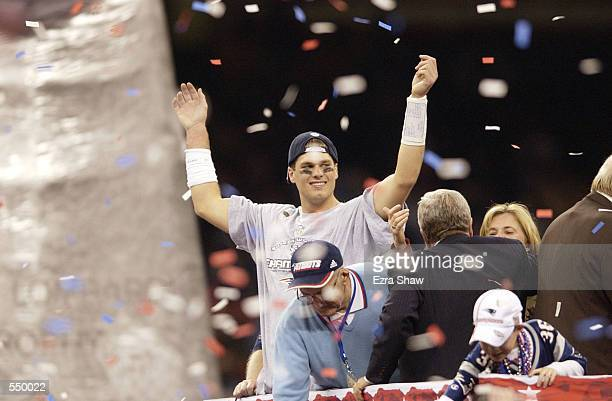 Quarterback Tom Brady celebrates after Superbowl XXXVI at the Superdome in New Orleans Louisiana The Patriots won 2017 with a 48yard field goal by...