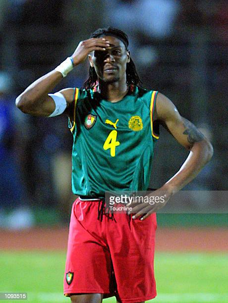 Rigobert Song of Cameroon holds his head after missing during the penalty shoot out in the African Cup of Nations Final between Cameroon and senegal,...