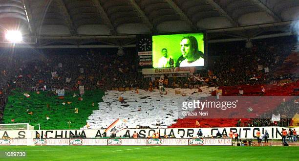 Roma fans before the Serie A match between Roma and Juventus played at the Olympic Stadium Rome DIGITAL IMAGE Mandatory Credit Grazia Neri/ALLSPORT