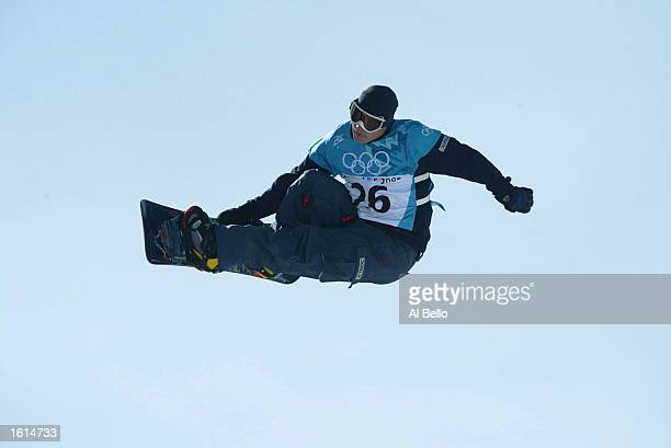 Ross Powers of the USA competes in the qualifying round of the men's halfpipe snowboarding event during the Salt Lake City Winter Olympic Games at...