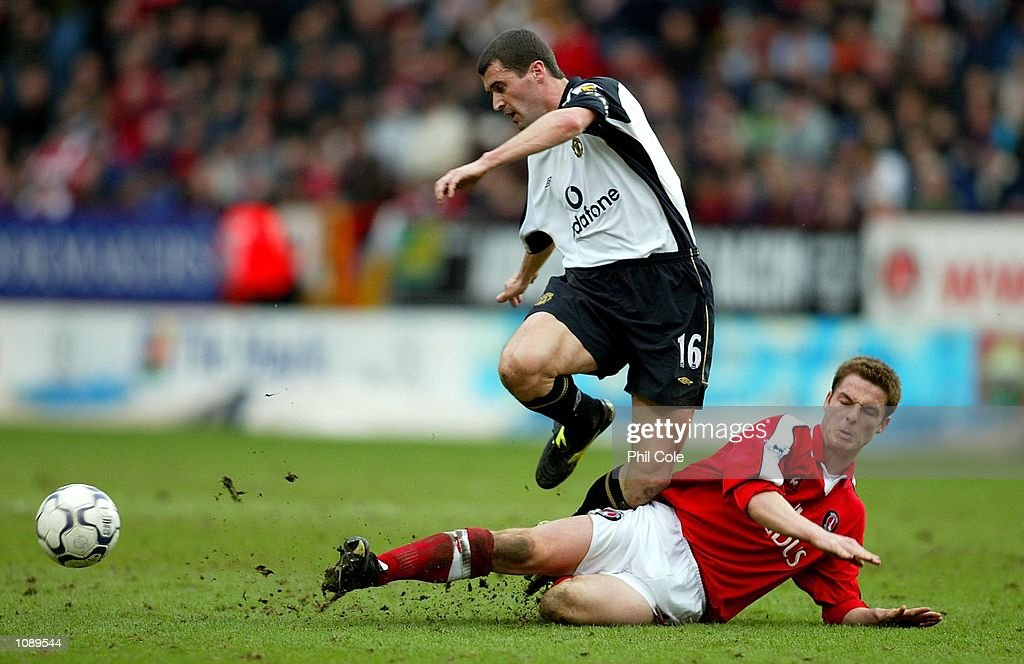 Roy Keane of Manchester United is tackled by Scott Parker during the FA Barclaycard Premiership match between Charlton Athletic and Manchester United at the Valley, London. DIGITEL IMAGE Mandatory Credit: Phil Cole/Getty Images