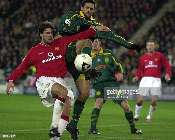 Ruud Van Nistelrooy of Manchester United in action during the UEFA Champions League game between FC Nantes and Manchester United at the Stade de la...
