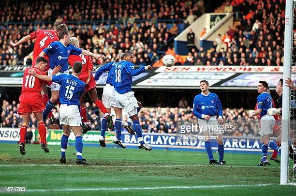 Sami Hyypia of Liverpool heads to score during the FA Barclaycard Premiership match between Ipswich Town and Liverpool at Portman Road Ipswich...
