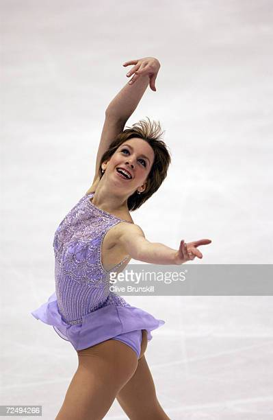 Sarah Hughes of the USA competes in the ladies free program during the Salt Lake City Winter Olympic Games at the Salt Lake Ice Center in Salt Lake...