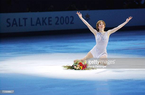 Sarah Hughes of the USA performs in the figure skating exhibition during the Salt Lake City Winter Olympic Games at the Salt Lake Ice Center in Salt...