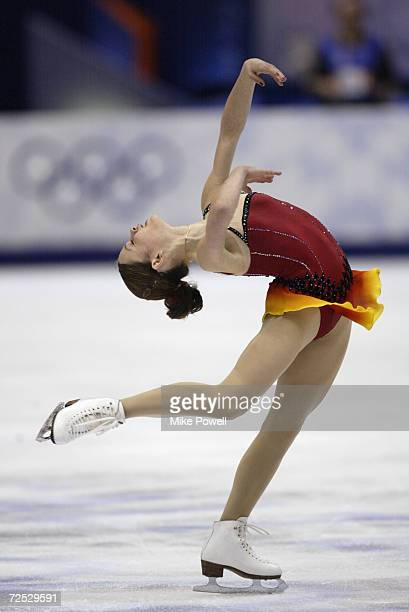 Sasha Cohen of the USA in action in the Women's Free Program Figure Skating at the Salt Lake Ice Center during the Salt Lake City Winter Olympic...