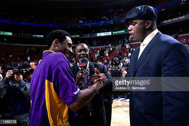 Shaquille O''Neal of the Los Angeles Lakers congratulates teammmate Kobe Bryant on being named MVP of the 2002 NBA All Star Game at the First Union...