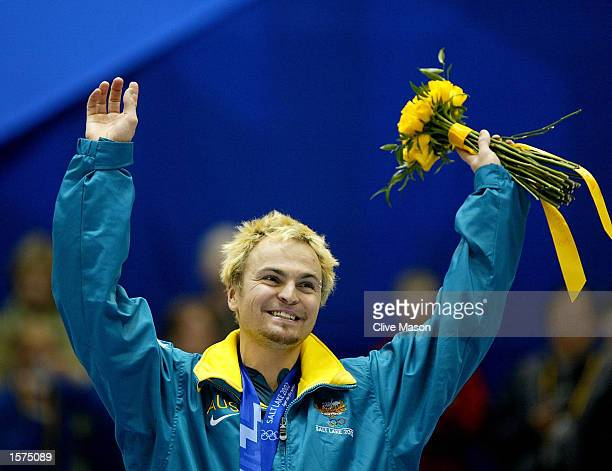 Steven Bradbury of Australia becomes the first ever Gold medal winner for Australia after winning the men's 1000m speed skating final during the Salt...