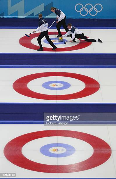 Team Finland competes in the men's curling Round Robin 4 event during the Salt Lake City Winter Olympic Games at the Ice Sheet in Ogden Utah DIGITAL...