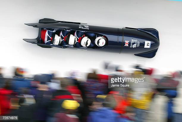 Team Great Britain1 of Neil Scarisbrick Scott Rider Philip Goeluck and Dean Ward in action in the 4Man Bobsleigh at the Utah Olympic Park in Park...