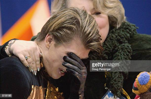 Tears of joy for Alexei Yagudin of Russia after victory in the men's free program during the Salt Lake City Winter Olympic Games at the Salt Lake Ice...